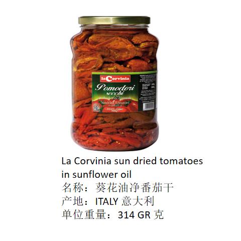 La Corvinia sun dried tomatoes in sunflo