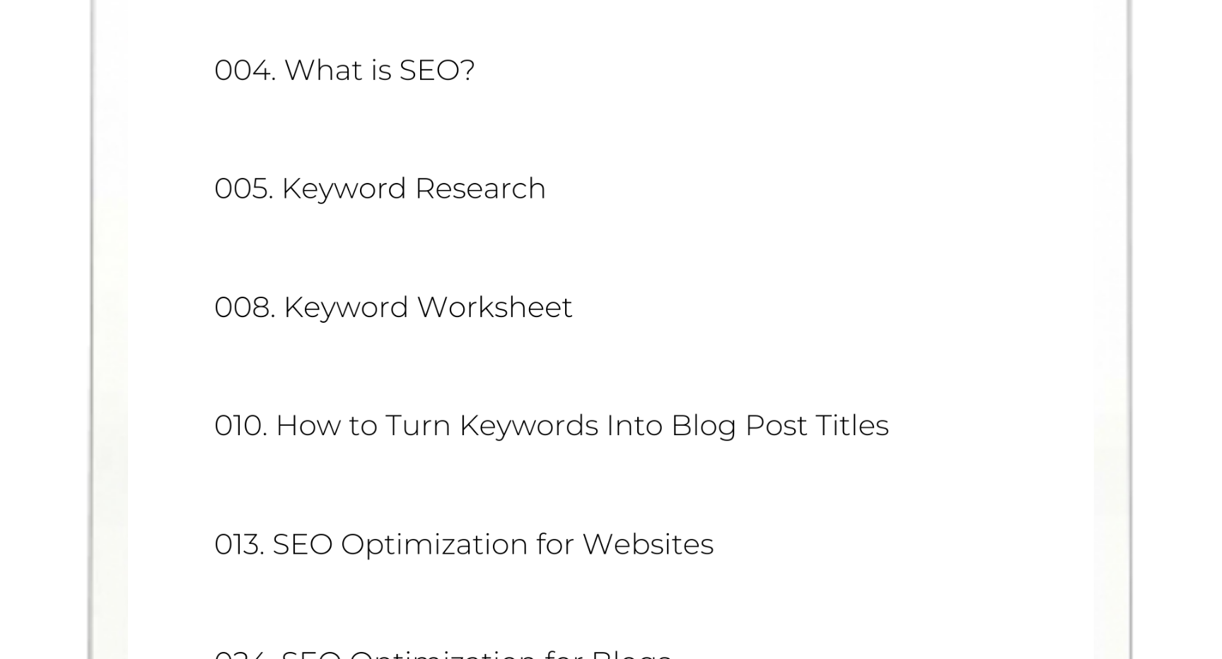 SEO IN WIX - GUIDE AND WORKBOOK