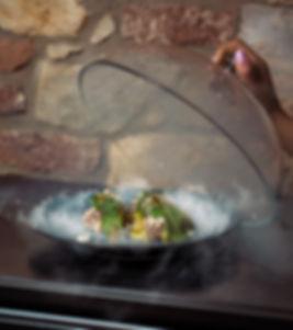 Restaurant Sova, Restaurace Sova, Smoked carp salad, Sova Prague, Sova Praha, Sova restaurant menu, Sova restaurace menu, Carp, smoked carp, kapr, uzený kapr