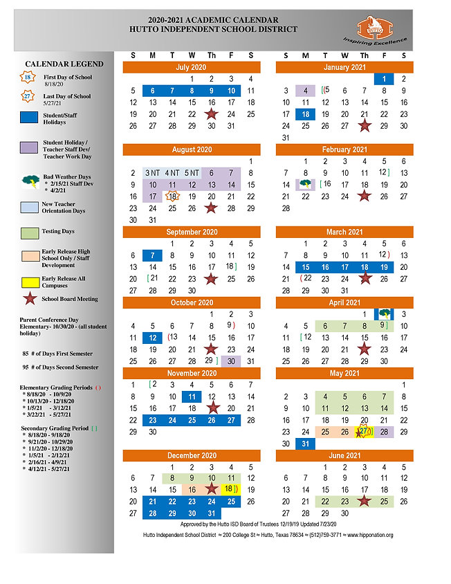 Hutto ISD School Calendar