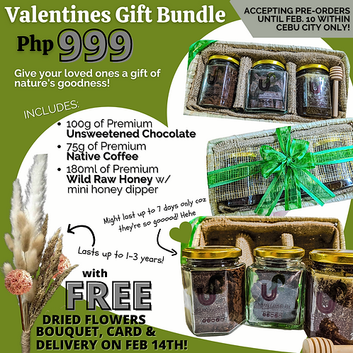 Valentine's Day Gift Set with Dry Flowers Bouquet | FREE DELIVERY NEAR CEBU CITY