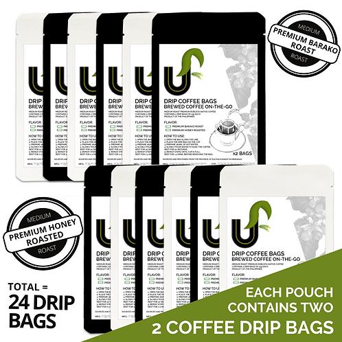 Premium Sultan Kudarat Coffee Drip Bags - Brewed Coffee on-the-go - 24 Drip Bags