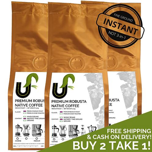 BUY 2 TAKE 1! Premium Robusta Instant Native Coffee (Medium Roast) 3 x 200g