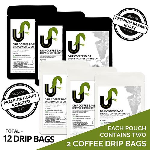 Premium Sultan Kudarat Coffee Drip Bags - Brewed Coffee on-the-go - 12 Drip Bags