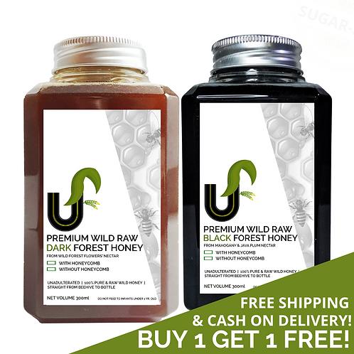 COMBO 7 - Premium Wild Raw Honey + Premium Wild Raw DARK + BLACK Honey 100% Pure