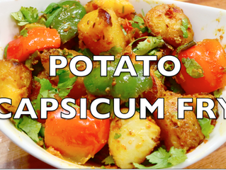Potato Capsicum Fry | Dry Aloo Shimla Mirch Recipe | Potato Capsicum Masala for Roti