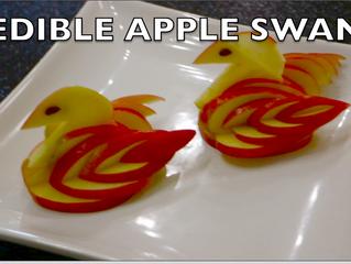 EDIBLE APPLE SWAN (FRUIT CARVING)