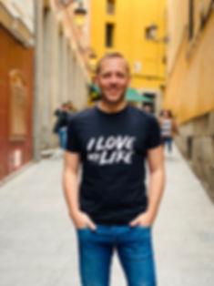 Man in black t-shirt in Madrid