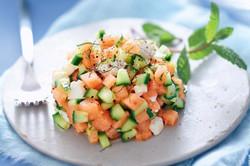 Tartare melon feta concombre