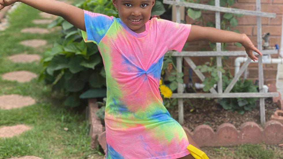 Toddler Girls Tie Dye Twist Tee Dress