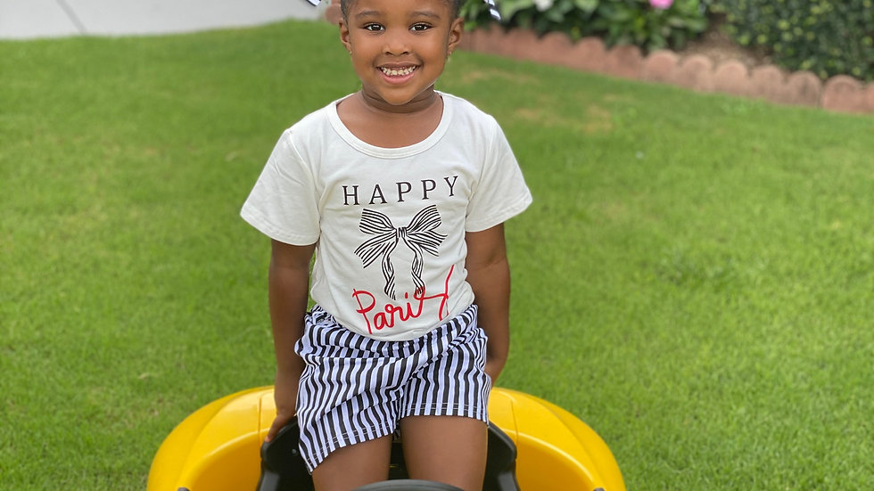 Striped Print Tee With Shorts Set
