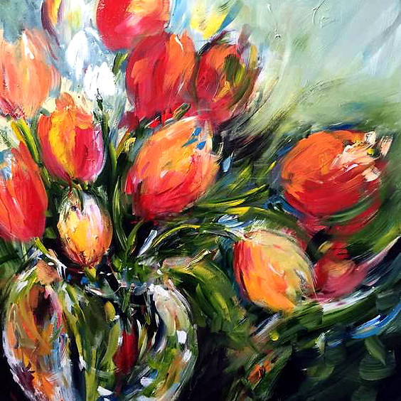 Wild Tulips in a Glass Vase Art Class