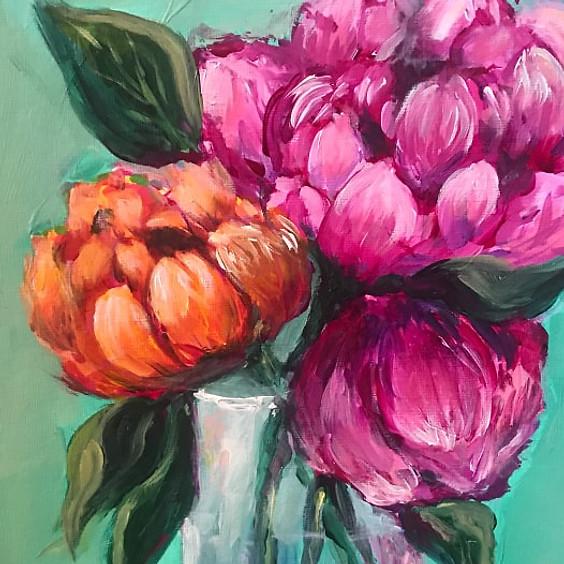 Peonies in a Vase Art Class