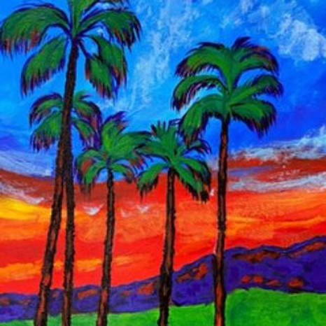 Palm Tree at Sunset Art Class