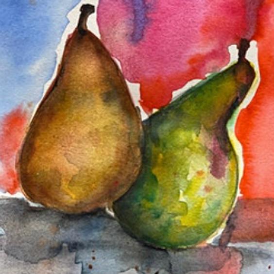 Pears in Watercolours Art Class