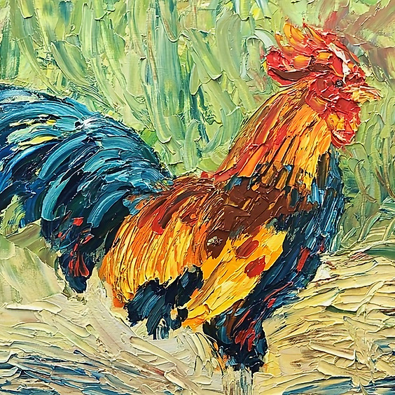 Paint a Rooster with a Palette Knife Art Class