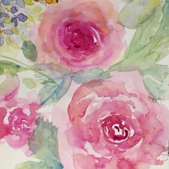 Loose Watercolour Flowers Art Class