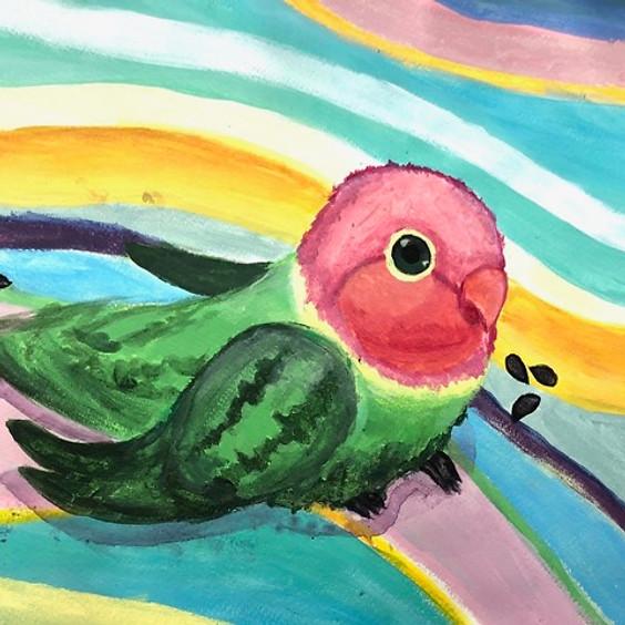 Rainbow Love Bird in Acrylic Art Class