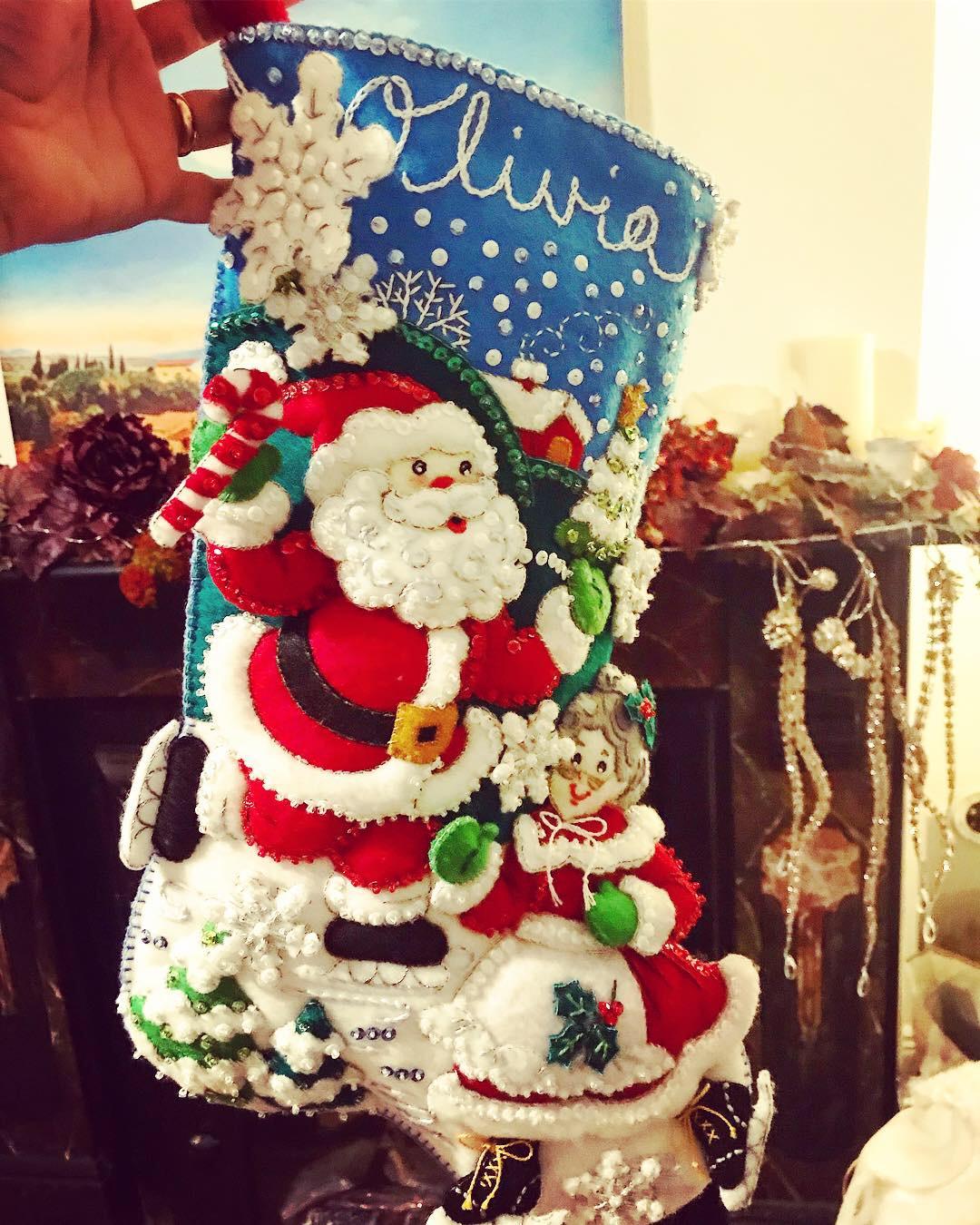 Embroidered Christmas stocking