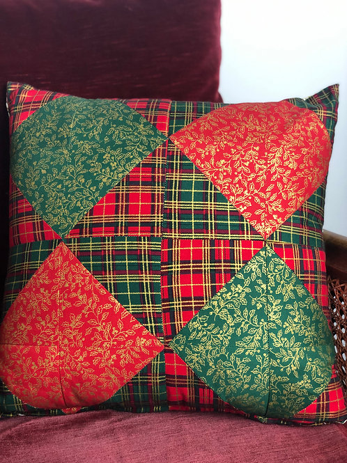 Tartan Patchwork Christmas Cushion