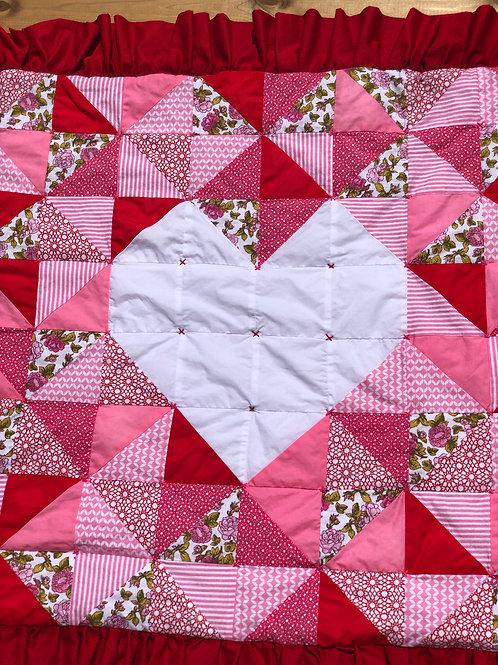 Ruffle heart baby quilt