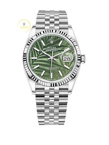 Rolex Datejust 36 Olive Palm Motif Dial - 2021