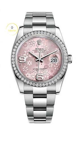 Rolex Datejust 36 Pink Floral Dial & Factory Diamond Bezel - 2014