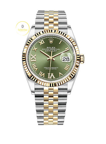 Rolex Datejust 36 Steel and Yellow Gold Olive Diamond Dial - 2021