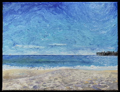 """Seabright on a Windy Day, 12"""" x 9"""""""