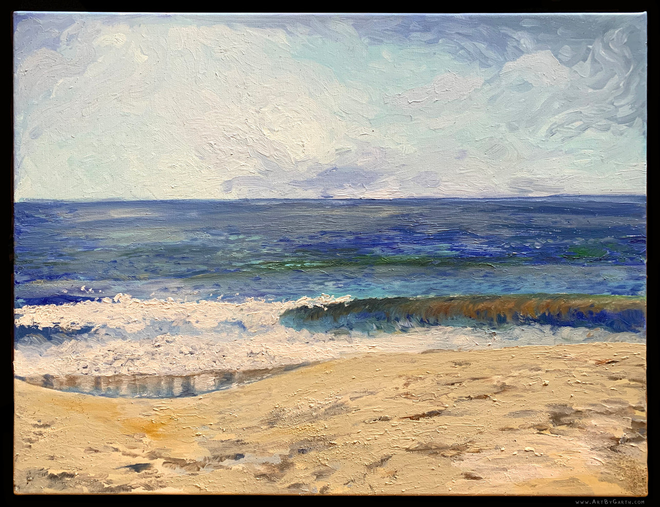 "Waves at Seabright Beach, 20"" x 16"""