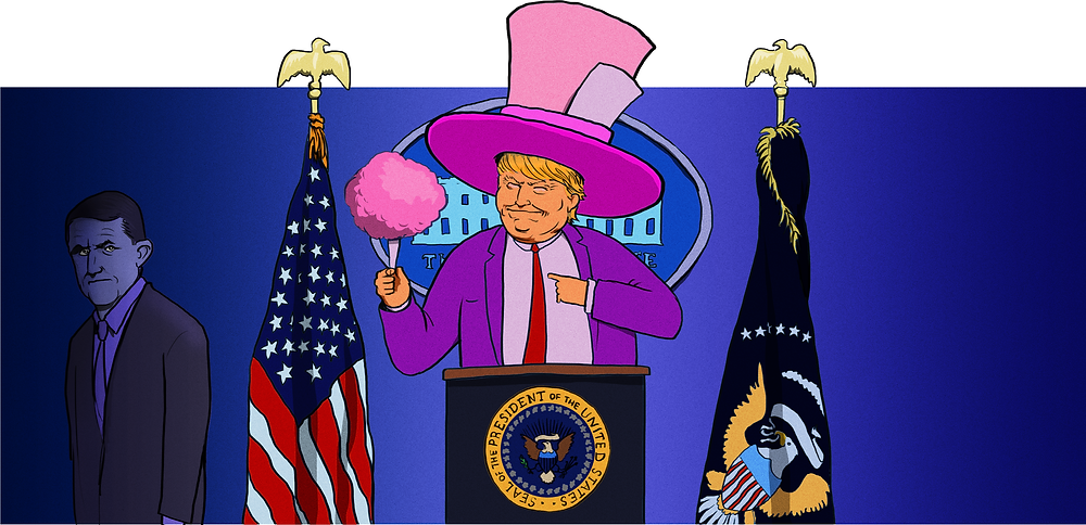 Trump is in a funny hat.
