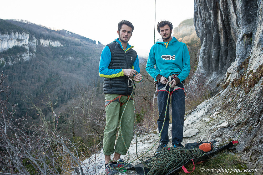 Arthur et Mathieu Ternant, Escalade à L'Auberge Espagnole, Vercors, France