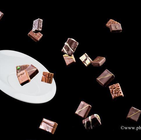 Explosion de bonbons de chocolats