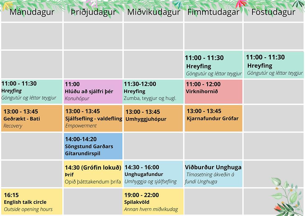 _test Mánudagur Þriðjudagur Miðvikudagur