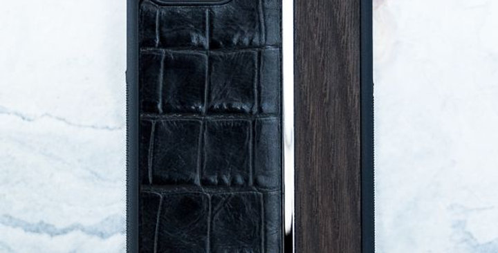 Premium iPhone CROC Leather Metal Wood