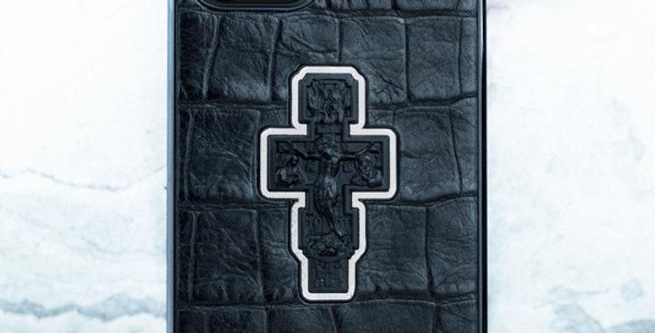 Православный чехол iPhone с распятием из натуральной кожи Euphoria HM Premium