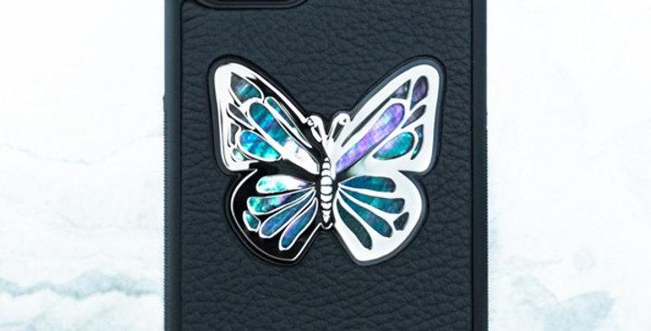 Премиум чехол iphone с бабочкой из перламутра кожа металл