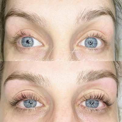 brow wax, lash lift and tint