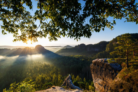Elbsandsteingebirge Sonnenaufgang am Winterstein - Hinteres Raubschloß