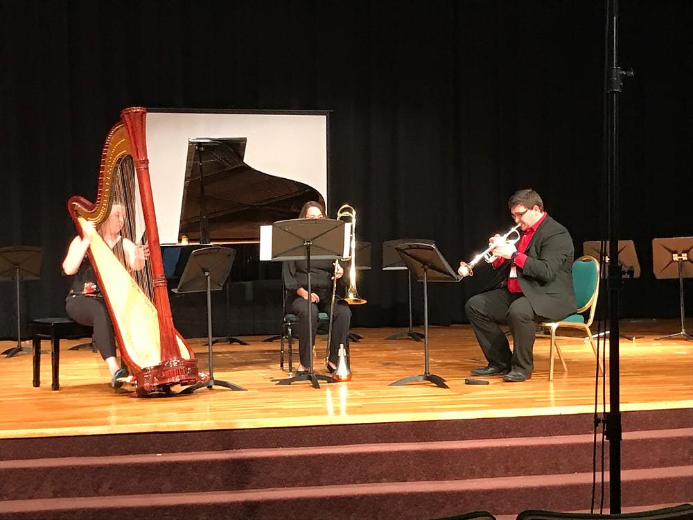 (Left to right) Kristina Finch, harp; Jessica Hawthorne, trombone; Chase Hawkins, trumpet