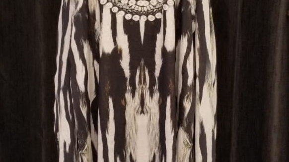 FB 101E Zebra Queen T-Back Dress