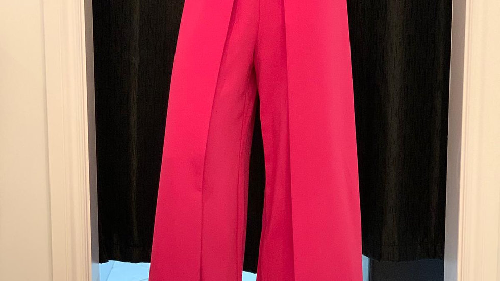 Front Wide Pleat Palazzo Pink Pants