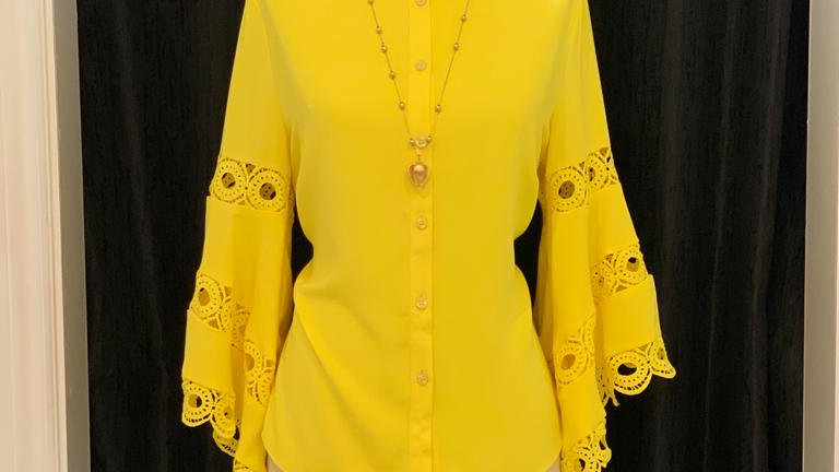 Yellow Bell Sleeve Blouse