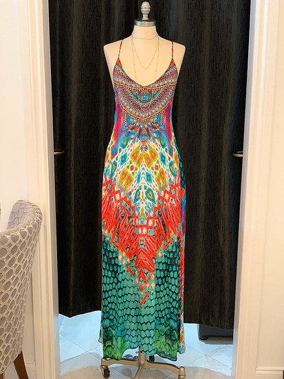 Jungle Queen Silk T-Back Dress