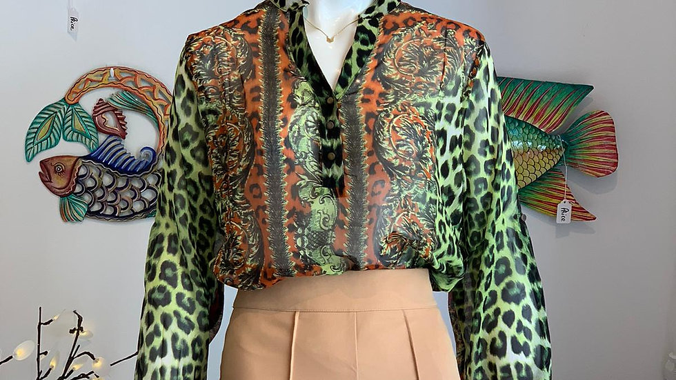 Orange-Green Cheetah Print Top