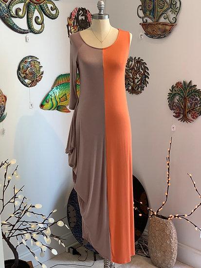 One Shoulder Split Color Dress