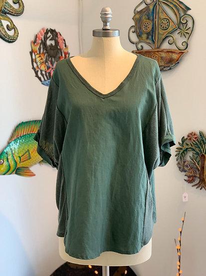 Green Linen & Cotton Top