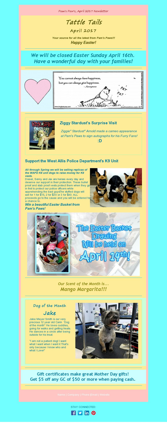 """""""Tattle Tails"""" The April Newsletter Has Arrived!"""