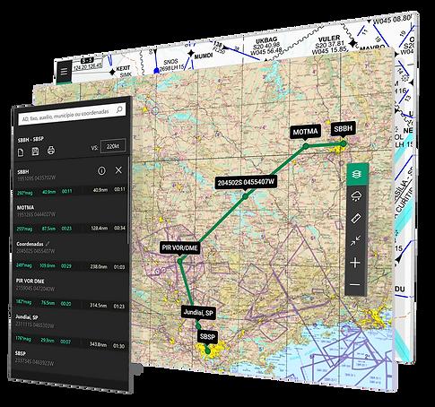 Imagem estilizada da plataforma de planejamento de voo com as camadas de interação