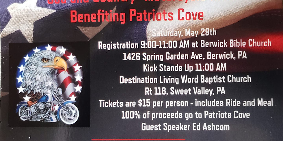 GOD & COUNTRY RIDE (Benefiting PATRIOTS COVE)